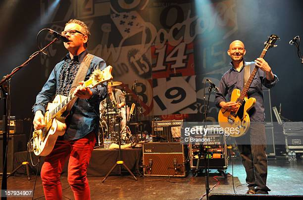 Leo Moran and Anthony Thistlewaite of The Saw Doctors perform on stage at O2 Shepherd's Bush Empire on December 7 2012 in London England