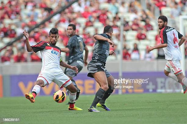 Leo Moura of Flamengo and Souza of Portuguesa, in action during the match between Flamengo and Portuguese for the Brazilian Championship Serie A in...