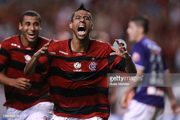 Leo Moura of Flamengo celebrates a scored goal againist Real Potosi during a match between Flamengo v Real Potosi as part of Santander Libertadores...