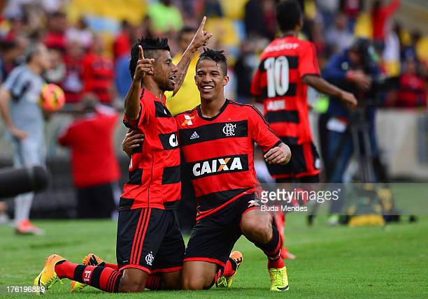 Leo Moura of Flamengo celebrates a scored goal against Fluminense during a match between Fluminense and Flamengo as part of Brazilian Championship...