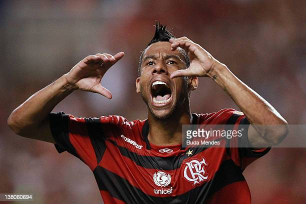 Leo Moura of Flamengo celebrates a scored goal against Real Potosi during a match between Flamengo v Real Potosi as part of Santander Libertadores...