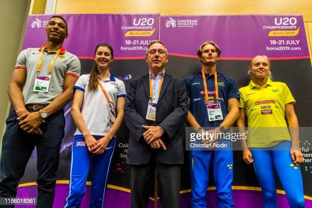Leo Neugebauer of Germany Amy Hunt of Great Britain General secretary of IAAF Jean Gracia Carl Bergström of Sweden and Tilde Johansson of Sweden...