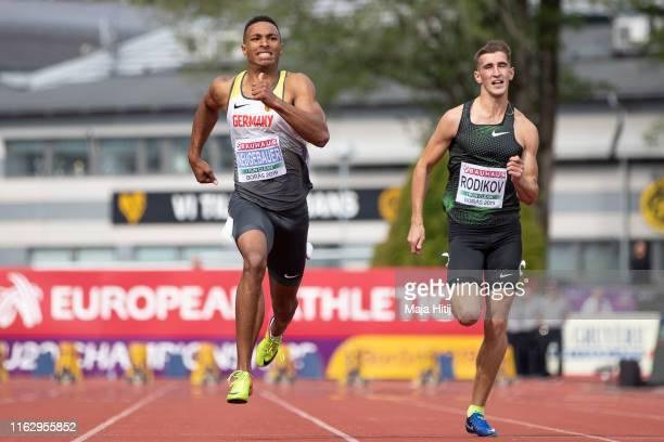 Leo Neugebauer of Germany finishes 100m Decathlon Men on July 19 2019 in Boras Sweden