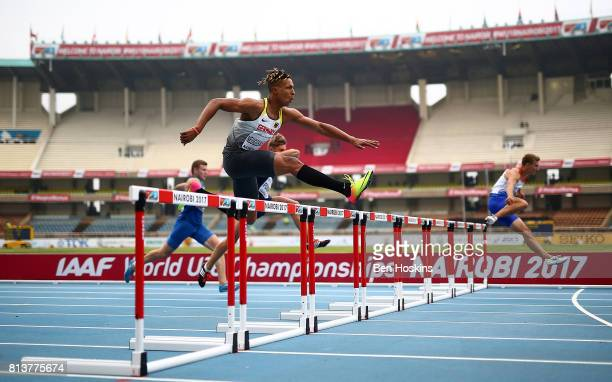 Leo Neugebauer of Germany in action during the 100m hurdles in the boys decathlon on day two of the IAAF U18 World Championships at the Kasarani...