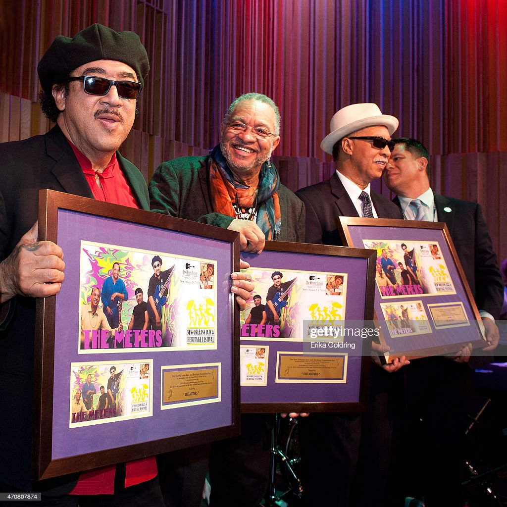 Leo Nocentelli, George Porter Jr and Joseph 'Zigaboo' Modeliste of the original The Meters gather for a photo during the Jazz Fest Postal Cachet unveiling at George and Joyce Wein Jazz & Heritage Center on April 23, 2015 in New Orleans, Louisiana.