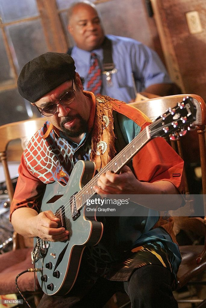 Leo Nocentelli of The Meters performs during the grand re-opening of Preservation Hall on April 27, 2006 in New Orleans, Louisiana. Preservation Hall has been closed since Hurricane Katrina hit the area eight months ago.