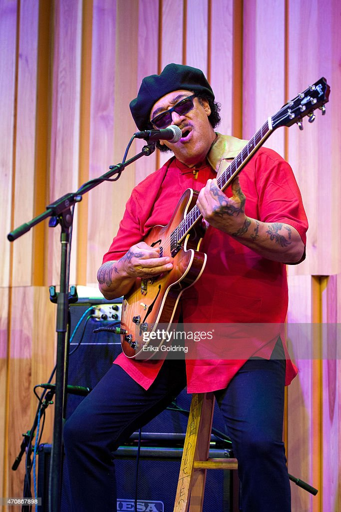 Leo Nocentelli of the original The Meters performs during the Jazz Fest Postal Cachet unveiling at George and Joyce Wein Jazz & Heritage Center on April 23, 2015 in New Orleans, Louisiana.