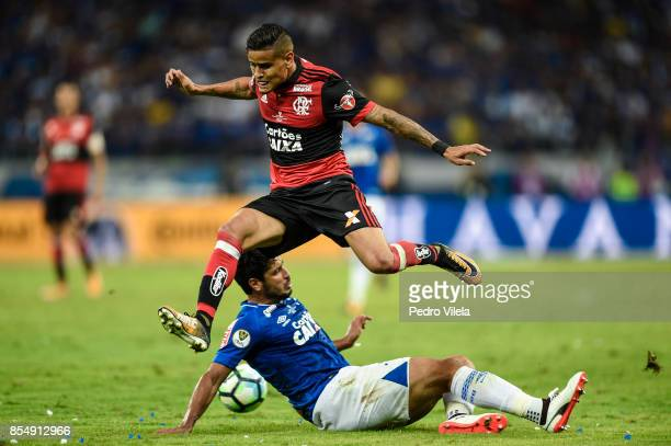 Leo of Cruzeiro struggles for the ball with Everton of Flamengo during a match between Cruzeiro and Flamengo as part of Copa do Brasil Final 2017 at...