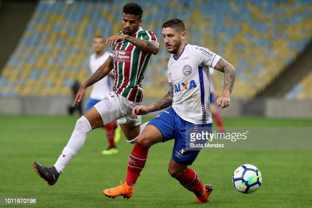 Leo of Fluminense struggles for the ball with Ze Rafael of Bahia during a match between Fluminense and Bahia as part of Brasileirao Series A 2018 at...