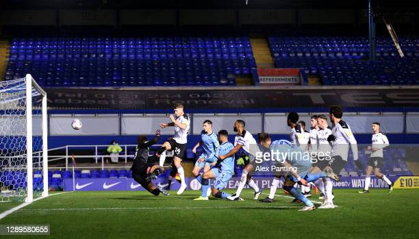 Leo Ostigard of Coventry City scores his sides third goal during the Sky Bet Championship match between Coventry City and Rotherham United at St...