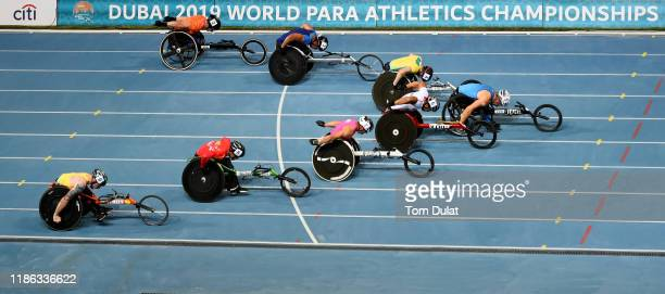 Leo Pekka Tahti of Finland wins the Men's 100m T54 Final on Day Two of the IPC World Para Athletics Championships 2019 Dubai on November 08, 2019 in...