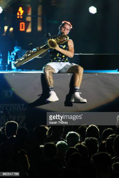 Leo Pellegrino of Too Many Zooz performs during the 2018 Montreal International Jazz Festival on July 5 2018 in Montreal Canada