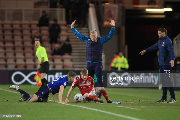 Leo Percovich the Middlesbrough 1st team coach appeals for the decision after Middlesbrough's Hayden Coulson clashed with Nottingham Forest's Ryan...