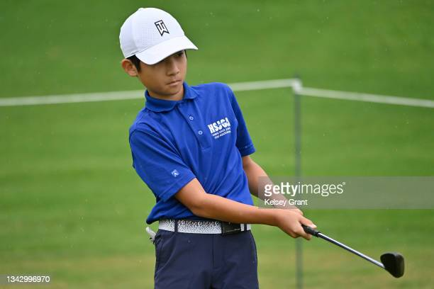Leo Saito attempts a chip during the 2021 Drive, Chip and Putt Regional Qualifier at TPC Scottsdale on September 26, 2021 in Scottsdale, Arizona.