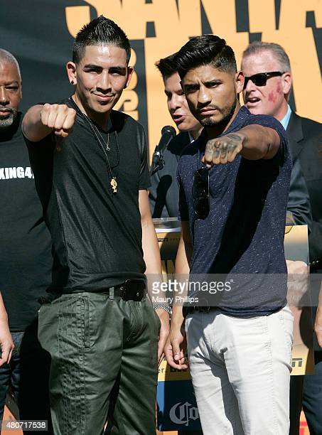 Leo Santa Cruz and Abner Mares attend a press conference hosted by Leo Santa Cruz and Abner Mares at Plaza Mexico on July 14 2015 in Lynwood...