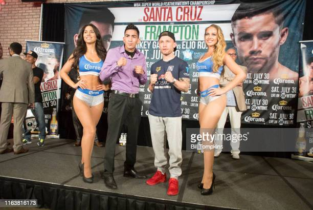 leo Santa Cruz and Carl Frampton pose while promoting their upcoming Featherweight fight on July 28 2016 in New York City