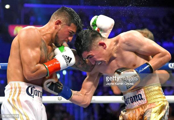 Leo Santa Cruz as he defeats Abner Mares in their WBA Featherweight Title WBC Diamond Title fight at Staples Center on June 9 2018 in Los Angeles...