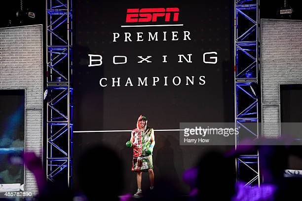 Leo Santa Cruz is introduced before his fight against Abner Mares of Mexico during the WBC diamond featherweight and WBA featherweight championship...