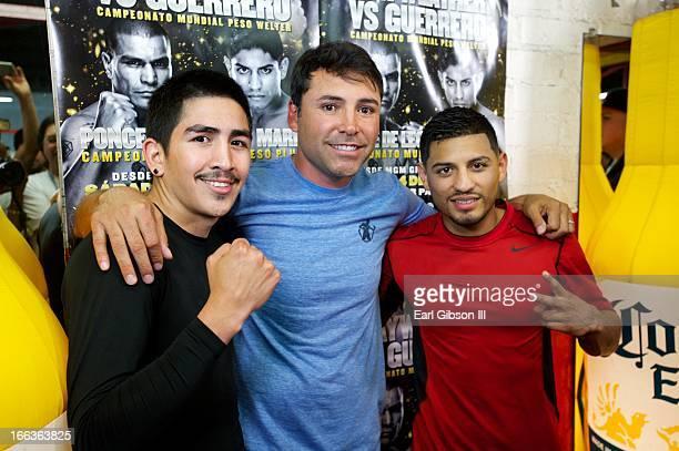 Leo Santa Cruz Oscar de la Hoya and Abner Mares attend the media workout at Azteca Gym on April 11 2013 in Bell California