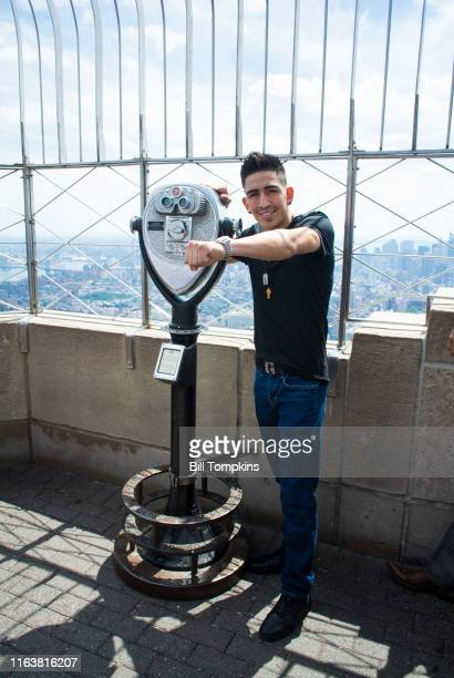 Leo Santa Cruz poses on top of the Empire State Building while promoting his upcoming Featherweeight fight on July 26 2016 in New York City