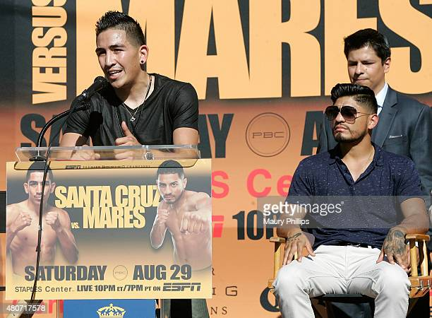 Leo Santa Cruz speaks onstage during a press conference hosted by Leo Santa Cruz and Abner Mares at Plaza Mexico on July 14 2015 in Lynwood California