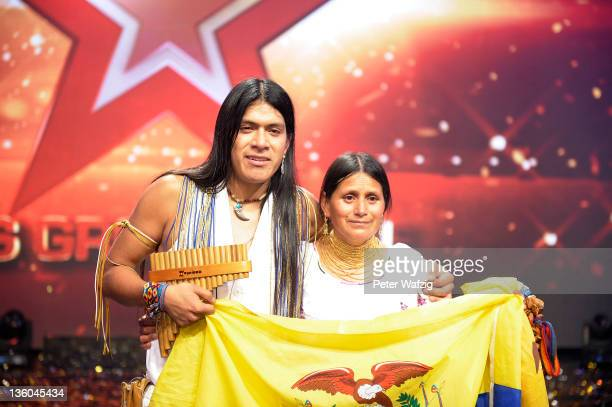 Leo Santillan Rojas together with his mother during the winners photocall of 'Das Supertalent' TV Show on December 17 2011 in Cologne Germany