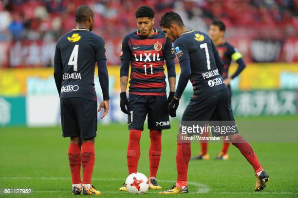 Leo SiLeo Silva Leandro and Pedro Junior of Kashima Antlers talks during the JLeague J1 match between Kashima Antlers and Sanfrecce Hiroshima at...