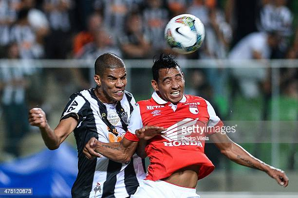 Leo Silva and Wilder Medina during the match between Atletico MG v Santa Fe for the Copa Briedgestone Libertadores 2014 at Independencia stadium on...