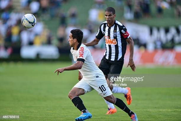 Leo Silva of Atletico MG and Jadson of Corinthians battle for the ball during a match between Atletico MG and Corinthians as part of Brasileirao...