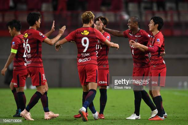 Leo Silva of Kashima Antlers celebrates scoring his side's first goal during the 98th Emperor's Cup round of 16 match between Kashima Antlers and...