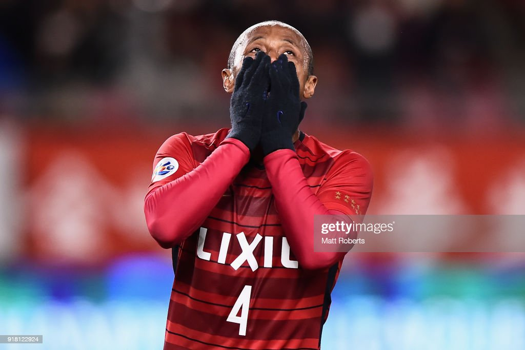 Leo Silva of Kashima Antlers reacts after missing chance during the AFC Champions League Group H match between Kashima Antlers and Shanghai Shenhua at Kashima Soccer Stadium on February 14, 2018 in Kashima, Ibaraki, Japan.