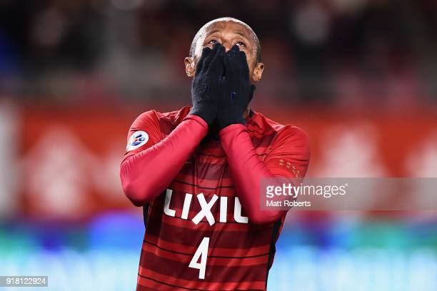 Leo Silva of Kashima Antlers reacts after missing chance during the AFC Champions League Group H match between Kashima Antlers and Shanghai Shenhua...