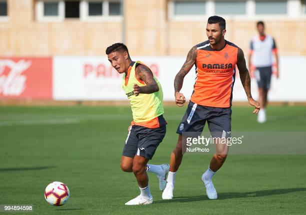 Leo Suarez and Roberto Soriano of Villarreal CF during the first training of the season 20182019 at Ciudad Deportiva of Miralcamp 9 July 2018 in...