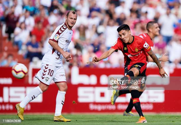 Leo Suarez of Mallorca in action during the LaLiga 123 match between Albacete and Mallorca at Carlos Belmonte Stadium on June 16 2019 in Albacete...