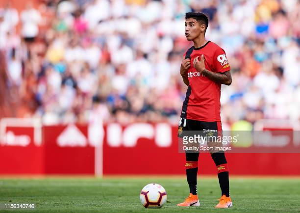 Leo Suarez of Mallorca reacts during the LaLiga 123 match between Albacete and Mallorca at Carlos Belmonte Stadium on June 16 2019 in Albacete Spain