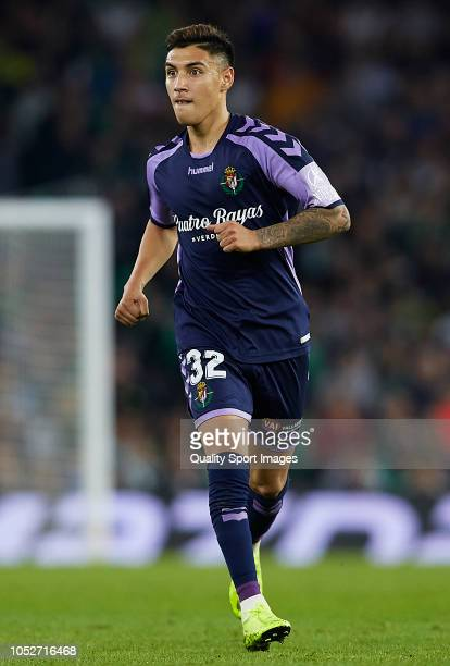 Leo Suarez of Valladolid looks on during the La Liga match between Real Betis Balompie and Real Valladolid CF at Estadio Benito Villamarin on October...
