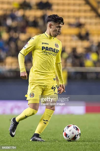 Leo Suarez of Villarreal CF in action during their Copa del Rey 201617 match between Villarreal CF and CD Toledo at the Estadio El Madrigal on 20...