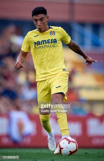 Leo Suarez of Villarreal in action during the PreSeason Friendly match between Villarreal and Zaragoza at Mini Estadi on August 8 2018 in Villareal...