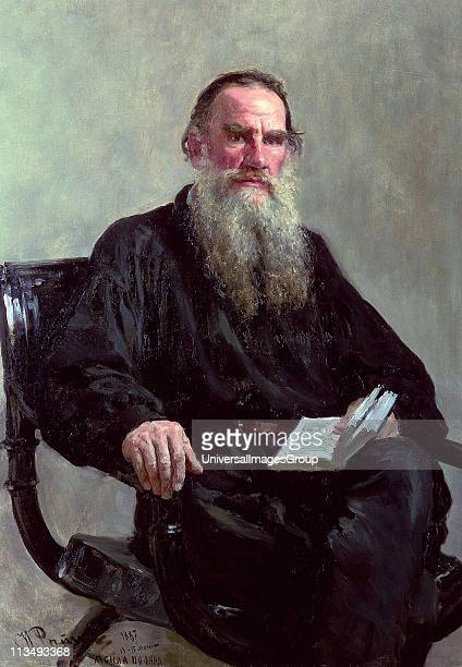Leo Tolstoy, 1887. Oil on canvas. Ilya Repin , Russian painter. Tolstoy , Russian writer, philosopher and mystic seated in chair, book in hand. His...