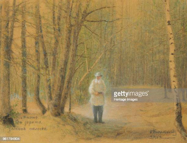 Leo Tolstoy in the forest. Private Collection.