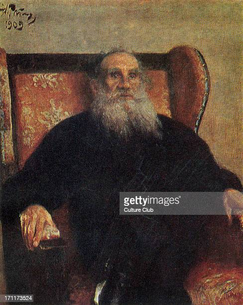 Leo Tolstoy - portrait sitting 'in the Pink Armchair', 1909 - Russian writer, aesthetic philosopher, moralist and mystic 1828-1910 - oil on canvas by...