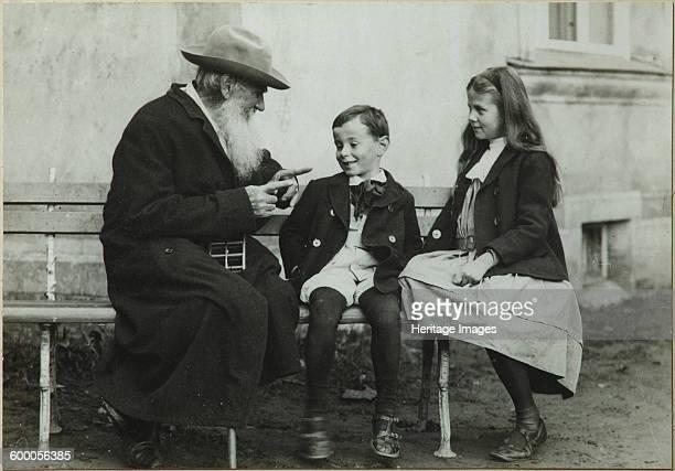 Leo Tolstoy with grandchildren Leo and Sofia, 1909. Found in the collection of State Museum Yasnaya Polyana Estate, near Tula. Artist : Chertkov,...