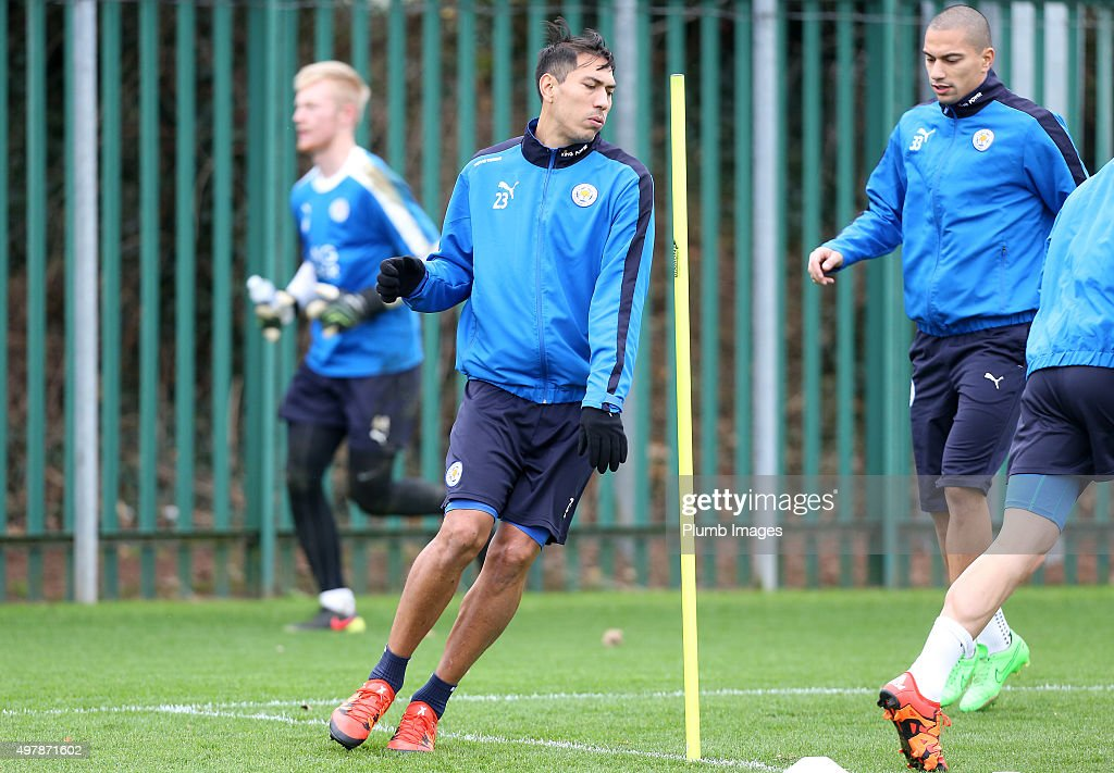 Leo Ulloa during the Leicester City training session at Belvoir Drive Training Complex on November 19 , 2015 in Leicester, United Kingdom.