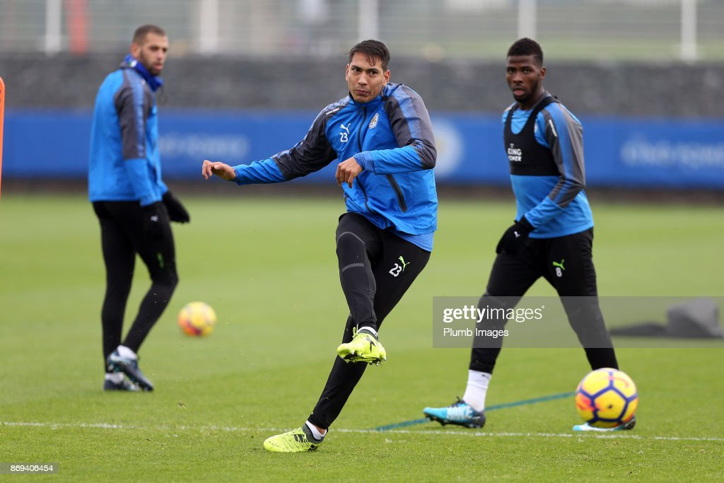 Leo Ulloa of Leicester City during the Leicester City training session at Belvoir Drive Training Complex on November 02 , 2017 in Leicester, United Kingdom.