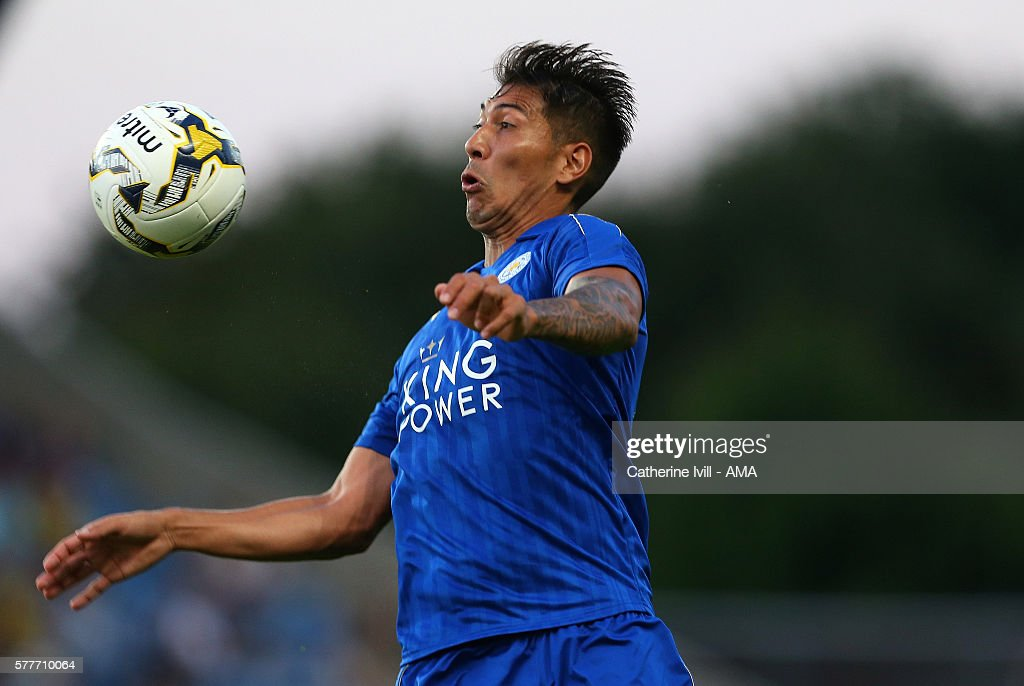 Leo Ulloa of Leicester City during the Pre-Season Friendly match between Oxford United and Leicester City at Kassam Stadium on July 19, 2016 in Oxford, England.