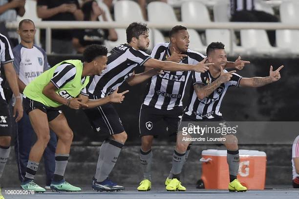 Leo Valencia of Botafogo celebrates after scoring the second goal of his team during the match between Botafogo and Flamengo as part of Brasileirao...