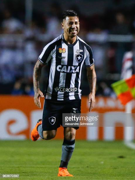 Leo Valencia of Botafogo celebrates after scoring their first goal during the match against Sao Paulo for the Brasileirao Series A 2018 at Morumbi...