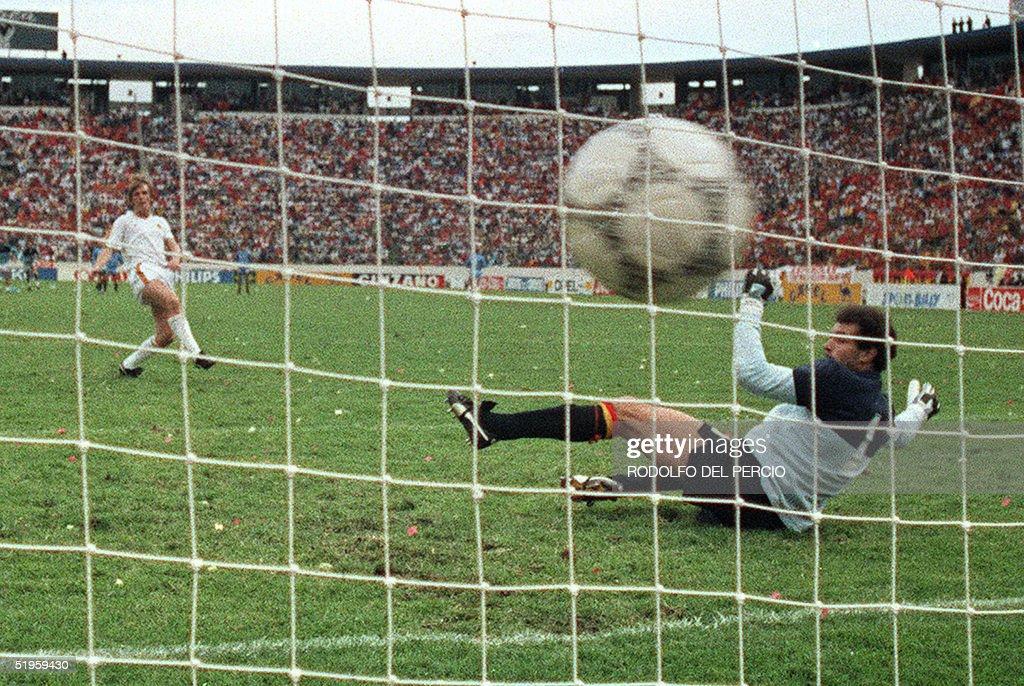 0a97f5aea27 Leo Van der Elst of Belgium scores the decisive penalty to open the ...