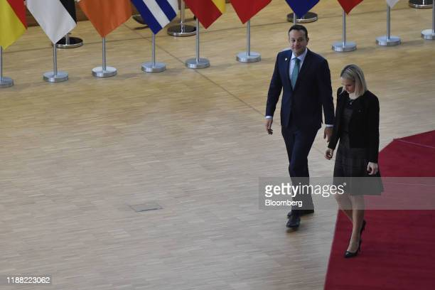 Leo Varadkar Ireland's prime minister left and Helen McEntee Ireland's minister for European affairs arrive for a European leaders summit in Brussels...