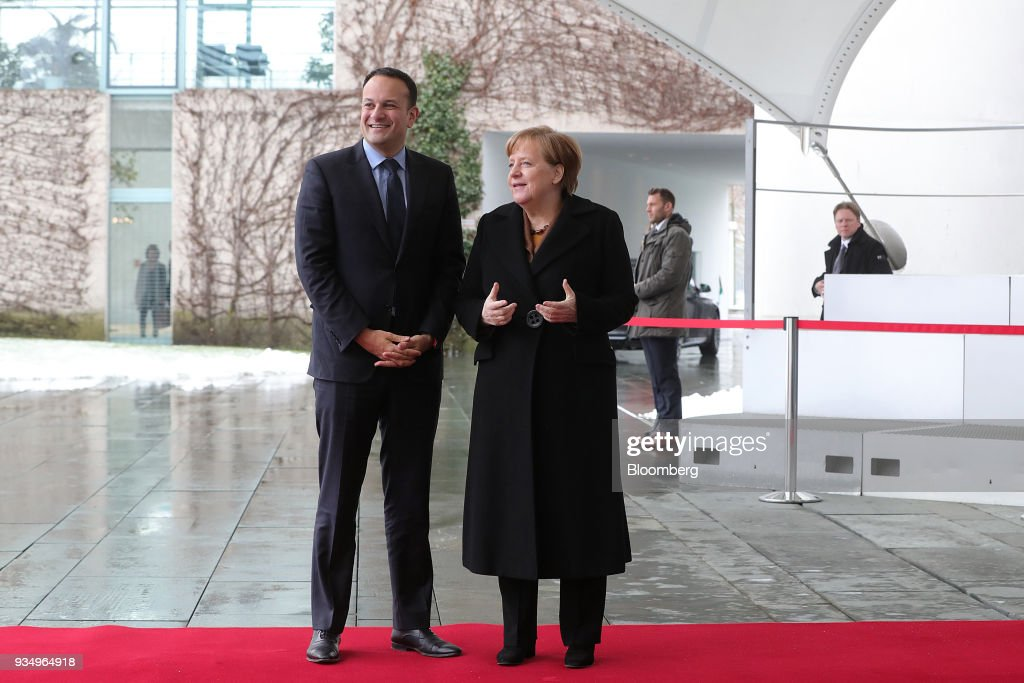 Germany's Chancellor Angela Merkel And Ireland's Prime Minister Leo Varadka News Conference